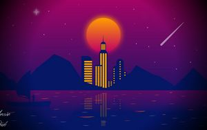 Wallpaper City Art Retrowave Synthwave Retro Hd Picture Image
