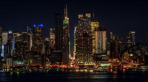 Preview wallpaper cityscape, night, new york, manhattan, skyscrapers, lights