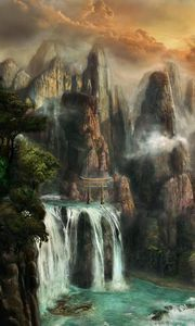 Preview wallpaper cliffs, waterfalls, mist, nature