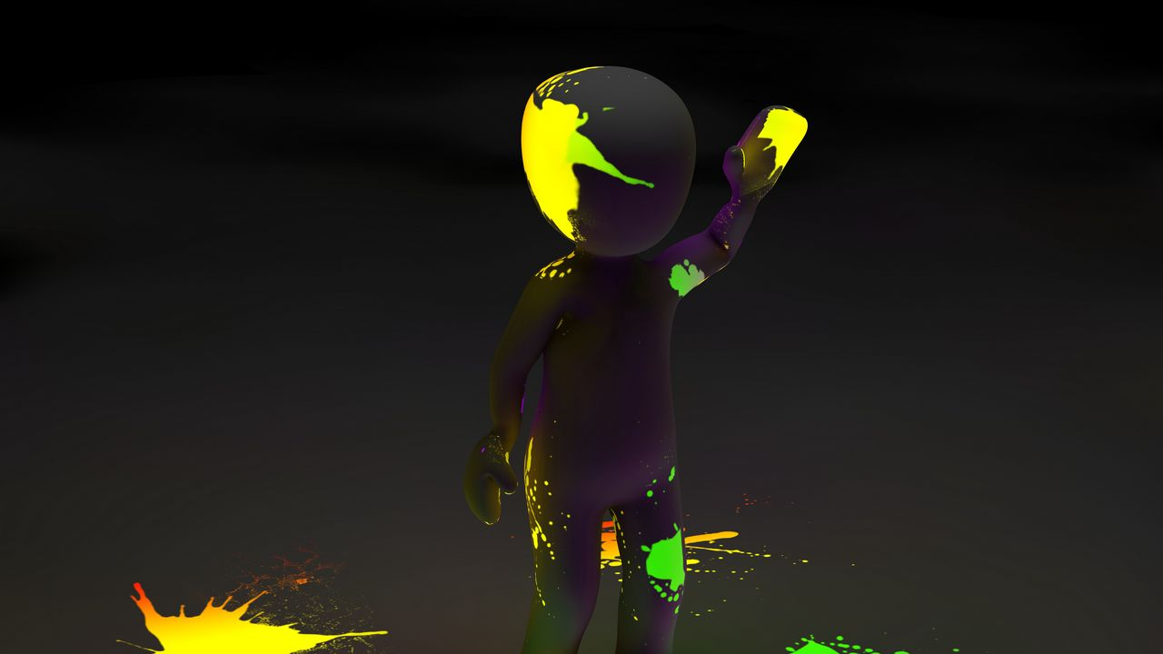 1280x720 Wallpaper clipart, person, paint, stains, neon, luminescence, fluorescence