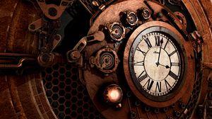 ... Preview wallpaper clock, mechanism, steampunk, time, arrows, dial
