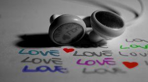 Preview wallpaper close-up, headphones, love, inscription