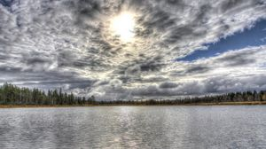 Preview wallpaper clouds, landscape, hdr, lake, forest