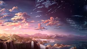 Preview wallpaper clouds, mountains, art, waterfalls, sky