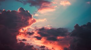 Preview wallpaper clouds, porous, sky, sunset, overcast