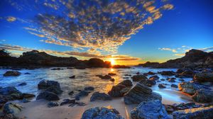 Preview wallpaper clouds, sky, stones, beach, sea, coast, decline, sun, evening, hdr
