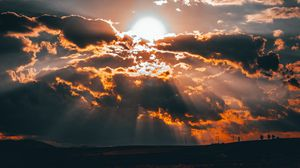 Preview wallpaper clouds, sun, sunset, overcast