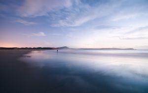 Preview wallpaper coast, ocean, loneliness, horizon, sunset