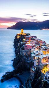 Preview wallpaper coastal city, coast, sea, mountains, vernazza, italy