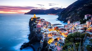 Preview wallpaper coastal city, coast, sea, mountains, vernazza, italy