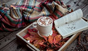 Preview wallpaper cocoa, marshmallow, plaid, book, autumn