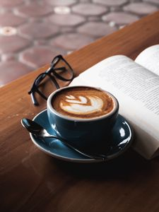 Preview wallpaper coffee, book, glasses, drink, cup, table