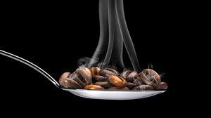 Preview wallpaper coffee, coffee beans, spoon, steam