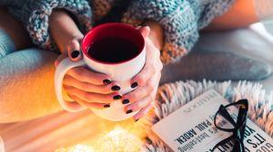 Preview wallpaper coffee, mug, hands, garland, comfort, mood