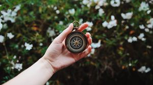 Preview wallpaper compass, hand, direction, branches, leaves
