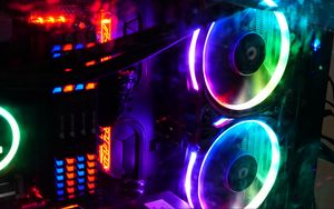 Preview wallpaper computer, coolers, backlight, neon, colorful