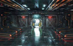Preview wallpaper corridor, door, sci-fi, art