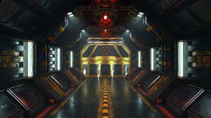 Preview wallpaper corridor, sci-fi, 3d, lamps, lights