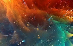 Preview wallpaper cosmic explosion, bright, lines, shapes, volume