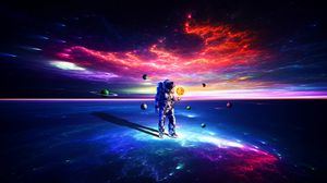 Preview wallpaper cosmonaut, astronaut, space suit, space, planets, colorful