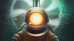 Preview wallpaper cosmonaut, space, art, solar system, hourglass, surrealism