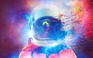 Preview wallpaper cosmonaut, space suit, multicolored, space