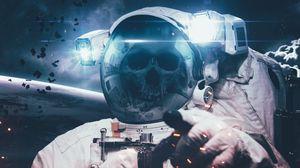 Preview wallpaper cosmonaut, space suit, skull, space, skeleton
