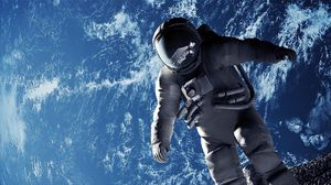 Preview wallpaper cosmonaut, weightlessness, space suit, open space