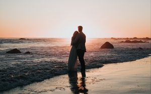Preview wallpaper couple, beach, sunset, hugs, love