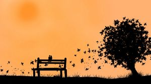 Preview wallpaper couple, bench, leaves, silhouette, fall