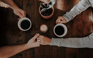 Preview wallpaper couple, hands, love, tenderness, coffee