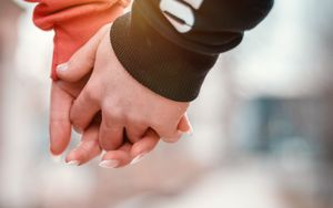 Preview wallpaper couple, hands, touch, tenderness, romance, love