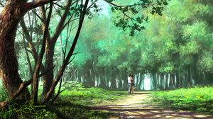 Preview wallpaper couple, hugs, art, forest, park, love, romance