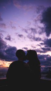 Preview wallpaper couple, kiss, love, sunset, dark
