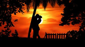 Preview wallpaper couple, silhouettes, hugs, romance, love, tropics