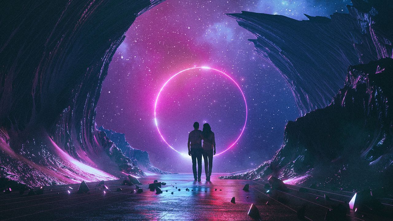 Wallpaper couple, starry sky, art, space, hugs