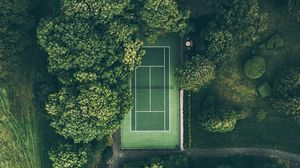 Preview wallpaper court, trees, top view, green