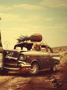 Preview wallpaper creative, hand, surrealism, car, clock, pineapple, cat