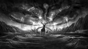 Preview wallpaper creatures, fantasy, art, bw, animals, landscape