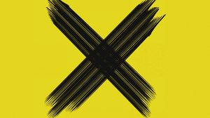 Preview wallpaper cross, symbol, brushstrokes, intersection, black, yellow, minimalism