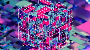 Preview wallpaper cube, colorful, 3d, volume
