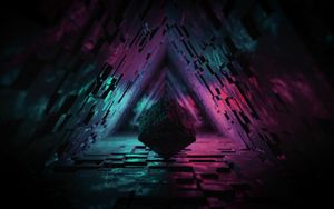 Preview wallpaper cube, figure, dark, tunnel, backlight, 3d