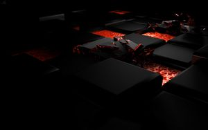 Preview wallpaper cube, fire, dark, light, alloy