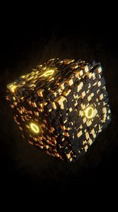 Preview wallpaper cube, glow, figure, 3d, volume