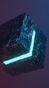 Preview wallpaper cube, parts, chips, backlight, levitation