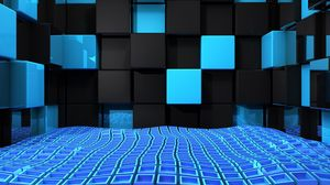 Preview wallpaper cube, squares, space, blue, black, weightlessness