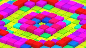 Preview wallpaper cubes, colorful, structure, 3d, bright