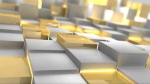 Preview wallpaper cubes, silver, gold, form