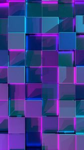 Preview wallpaper cubes, structure, 3d, surface, reflection, glow