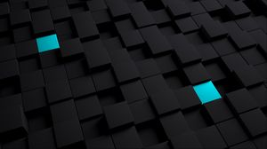 Preview wallpaper cubes, structure, black, blue